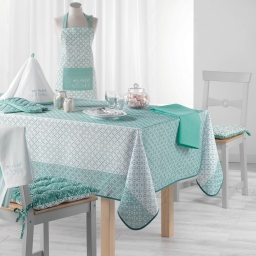Nappe rectangle 150 x 240 cm fils coupes imprime lucie Menthe