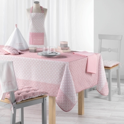 Nappe rectangle 150 x 240 cm fils coupes imprime lucie Rose