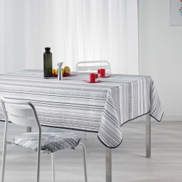 Nappe rectangle 150 x 240 cm polyester imprime analea Noir/Blanc