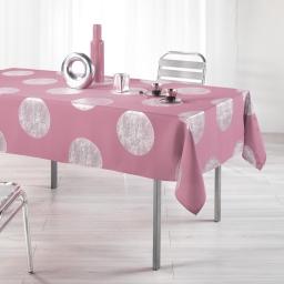 Nappe rectangle 150 x 240 cm polyester imprime argent platine Rose