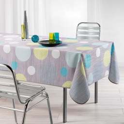 Nappe rectangle 150 x 240 cm polyester imprime atolls Anis