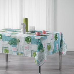 Nappe rectangle 150 x 240 cm polyester imprime bahia Blanc