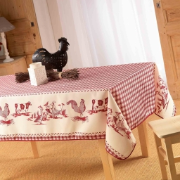 Nappe rectangle 150 x 240 cm polyester imprime basse cour Rouge