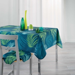 Nappe rectangle 150 x 240 cm polyester imprime blue vegetal Bleu