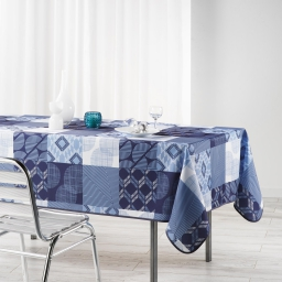 Nappe rectangle 150 x 240 cm polyester imprime dalea Bleu