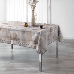 nappe rectangle 150 x 240 cm polyester imprime ethnic wood