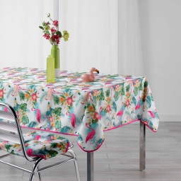 Nappe rectangle 150 x 240 cm polyester imprime flamingo beach Blanc