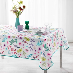 Nappe rectangle 150 x 240 cm polyester imprime freshy Blanc