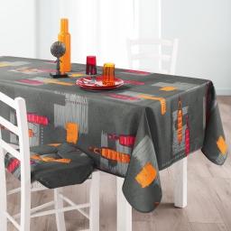 Nappe rectangle 150 x 240 cm polyester imprime jaya Anthracite
