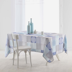 Nappe rectangle 150 x 240 cm polyester imprime mantra Bleu