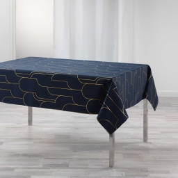 Nappe rectangle 150 x 240 cm polyester imprime metallise domea Marine/or