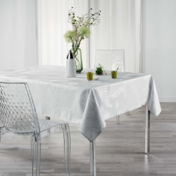 Nappe rectangle 150 x 240 cm polyester imprime metallise veggy Blanc/argent