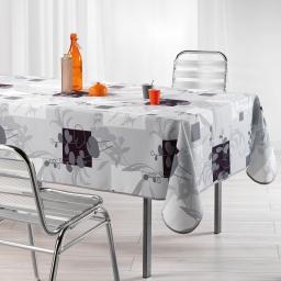 Nappe rectangle 150 x 240 cm polyester imprime nenuphar Gris