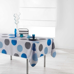 Nappe rectangle 150 x 240 cm polyester imprime odaly Bleu