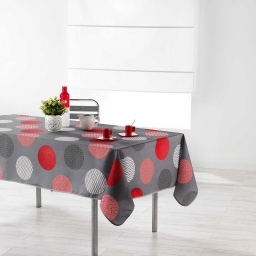 Nappe rectangle 150 x 240 cm polyester imprime odaly Rouge