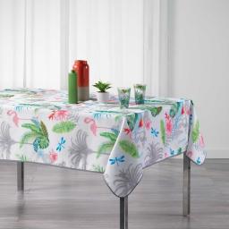 Nappe rectangle 150 x 240 cm polyester imprime paradizio Blanc