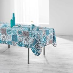 Nappe rectangle 150 x 240 cm polyester imprime persane Bleu