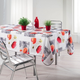 Nappe rectangle 150 x 240 cm polyester imprime polly Blanc