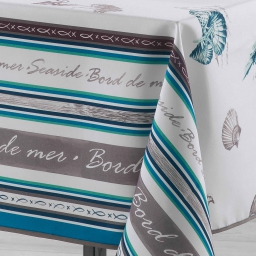 Nappe rectangle 150 x 240 cm polyester imprime seaside Turquoise