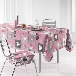 Nappe rectangle 150 x 240 cm polyester imprime starly Rose
