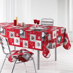 Nappe rectangle 150 x 240 cm polyester imprime starly Rouge
