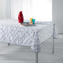 Nappe rectangle 150 x 240 cm polyester imprime valina Blanc