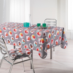 Nappe rectangle 150 x 240 cm polyester photoprint cafe gourmand Gris