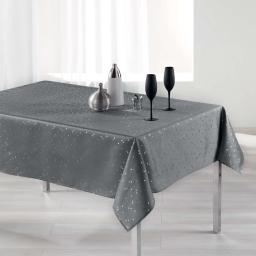 Nappe rectangle 150 x 240 cm shantung imprime safina Gris/Argent