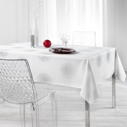 Nappe rectangle 150 x 300 cm polyester imprime argent atome Blanc