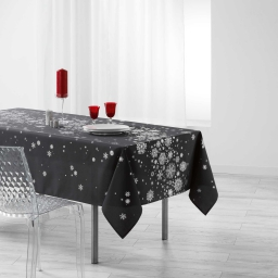 Nappe rectangle 150 x 300 cm polyester imprime argent constellation Anthracite