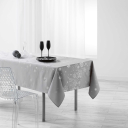 Nappe rectangle 150 x 300 cm polyester imprime argent constellation Gris