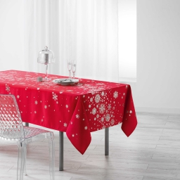 Nappe rectangle 150 x 300 cm polyester imprime argent constellation Rouge