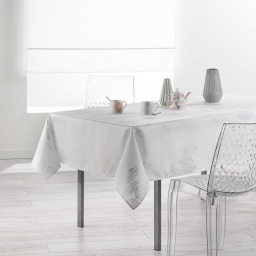 Nappe rectangle 150 x 300 cm polyester imprime argent plumia Blanc