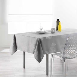 Nappe rectangle 150 x 300 cm polyester imprime argent plumia Gris