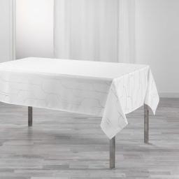 Nappe rectangle 150 x 300 cm polyester imprime metallise domea Blanc/argent