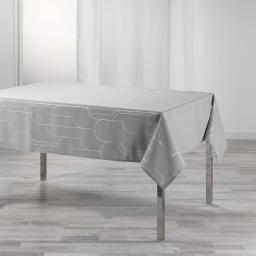 Nappe rectangle 150 x 300 cm polyester imprime metallise domea Gris/argent