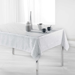 Nappe rectangle 150 x 300 cm polyester imprime metallise quadris Blanc/Argent
