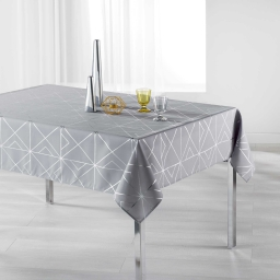 Nappe rectangle 150 x 300 cm polyester imprime metallise quadris Gris/Argent
