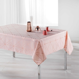 Nappe rectangle 150 x 300 cm polyester imprime metallise quadris Rose/Or rose