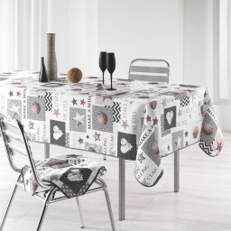 Nappe rectangle 150 x 300 cm polyester imprime starly Blanc