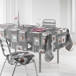 Nappe rectangle 150 x 300 cm polyester imprime starly Gris