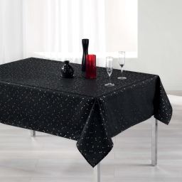 Nappe rectangle 150 x 300 cm shantung imprime safina Noir/Or