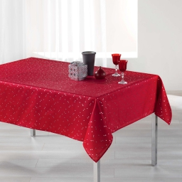 Nappe rectangle 150 x 300 cm shantung imprime safina Rouge/Argent