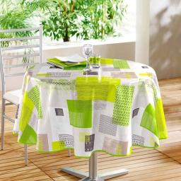 Nappe ronde (0) 160 cm pvc imprime carrea Vert