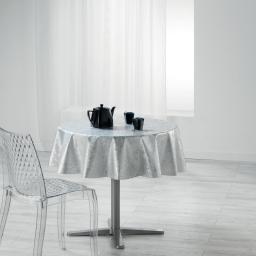 Nappe ronde (0) 160 cm pvc imprime metallise luny Blanc
