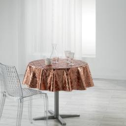 Nappe ronde (0) 160 cm pvc imprime metallise luny Rose