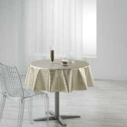 Nappe ronde (0) 160 cm pvc imprime metallise wavy Or