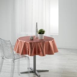 Nappe ronde (0) 160 cm pvc imprime metallise wavy Rose