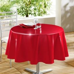 Nappe ronde (0) 160 cm pvc uni laque glossy Rouge