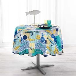 Nappe ronde (0) 180 cm anti tache imprime blue lagoon Blanc